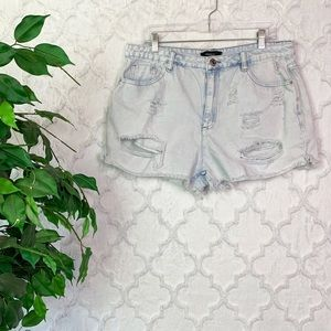 Forever 21 Plus High Rise Distressed Mom Shorts